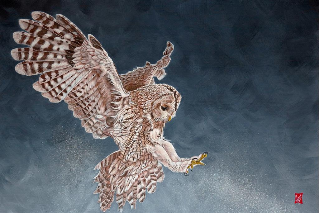 Bruissement d'ailes (Chouette Hulotte), Acrylique sur toile, 60 x 80 cm, 2019- Disponible